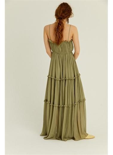 Rue Haki Askılı Dökümlü Volanlı Elbise Haki